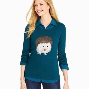 TALBOTS Teal Hedgehog Sweater Top
